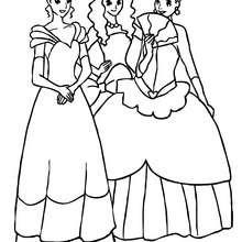 Drei schöne Prinzessinnen zum Ausmalen