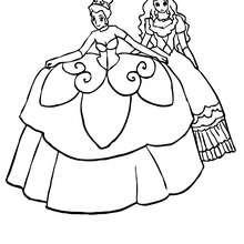 Zwei schön gekleidete Prinzessinnen zum Ausmalen