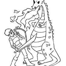 Drache kämpft gegen Ritter zum Ausmalen