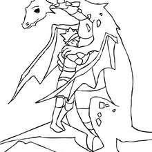 Drache mit Ritter zum Ausmalen
