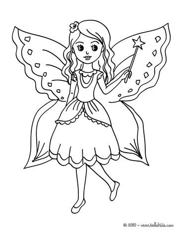 Fee mit schmetterling zum ausmalen zum ausmalen de for Coloring pages of pretty fairies