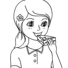 Mädchen isst einen Geburtstagskuchen zum Ausmalen