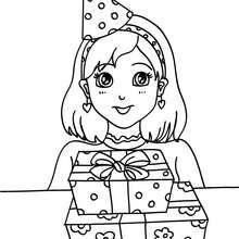 Mädchen mit einem Geburtstagsgeschenk zum Ausmalen