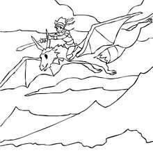 Ritter auf seinem Drache zum Ausmalen