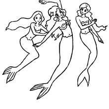 Gruppe Meerjungfrauen tanzt zum Ausmalen
