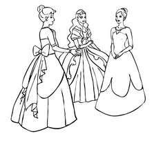 Gruppe von Prinzessinnen zum Ausmalen