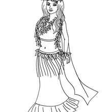 Hawaiianische Prinzessin zum Ausmalen
