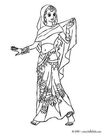 Indische prinzessin zum ausmalen zum ausmalen - Coloriage inde ...