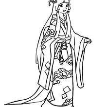 Traditionelle japanische Prinzessin zum Ausmalen