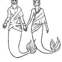 König Triton mit seiner Königin zum Ausmalen
