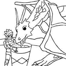 Ritter füttert seinen Drachen zum Ausmalen