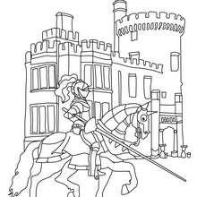 Ritter vor einem Schloss zum Ausmalen