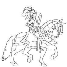 Ritter mit Schwert auf einem Pferd zum Ausmalen