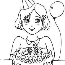 Mädchen mit einem Geburtstagskuchen zum Ausmalen