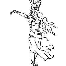 Maya Prinzessin tanzt zum Ausmalen