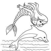 Meerjungfrau mit einem Delphin zum Ausmalen