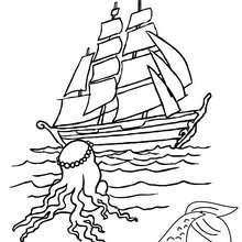 Meerjungfrau beobachtet ein Boot zum Ausmalen