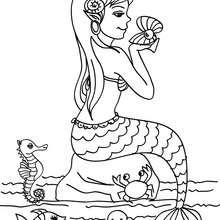 Meerjungfrau mit ihren Freunden zum Ausmalen