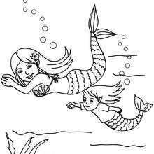Meerjungfrauen schwimmen zum Ausmalen