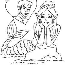 Verliebte Meerjungfrau zum Ausmalen