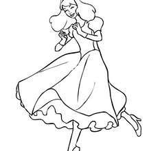 Prinzessin tanzt zum Ausmalen