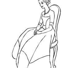 Prinzessin sitzt zum Ausmalen