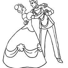 Prinz und Prinzessin tanzen zum Ausmalen