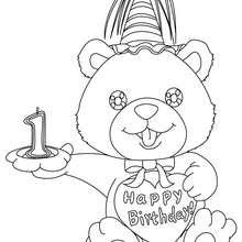 Geburtstagskerze 1 Jahr zum Ausmalen