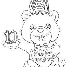 Geburtstagskerze 10 Jahre zum Ausmalen