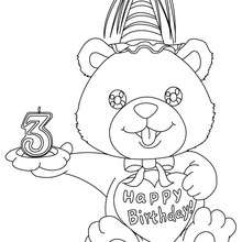 Geburtstagskerze 3 Jahre zum Ausmalen