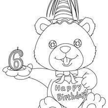 Geburtstagskerze 6 Jahre zum Ausmalen