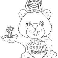 Geburtstagskerze 7 Jahre zum Ausmalen