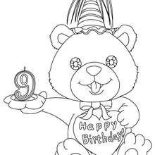 Geburtstagskerze 9 Jahre zum Ausmalen