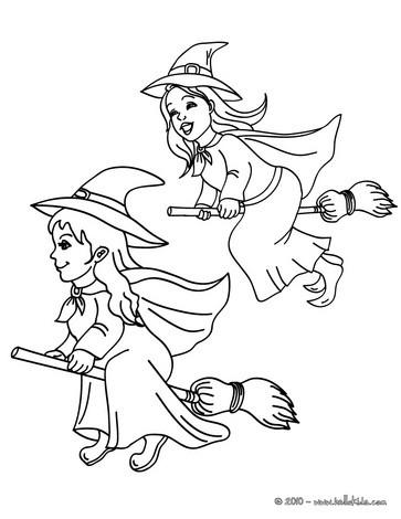 Liebe hexe mit einer katze zum ausmalen zum ausmalen - de.hellokids.com
