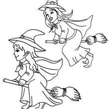 Lustige Hexen reiten auf ihren Besen um die Wette zum Ausmalen