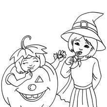 Kürbis und Hexe Kostüme zum Ausmalen