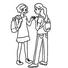 Mädchen sprechen auf dem Schulhof zum Ausmalen