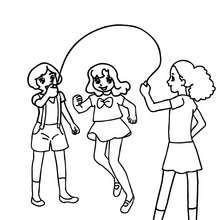 Mädchen springen Seil auf dem Schulhof zum Ausmalen