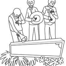 Lustige Szene der toten Skeletts zum Ausmalen