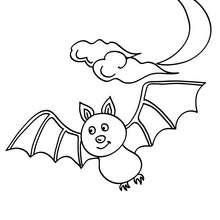 Fledermaus fliegt im Mondschein zum Ausmalen