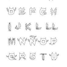Fledermausbuchstaben zum Ausmalen