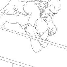 Wrestler am Boden zum Ausmalen