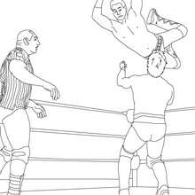 Kampfszene Wrestler und Schiedsrichter zum Ausmalen
