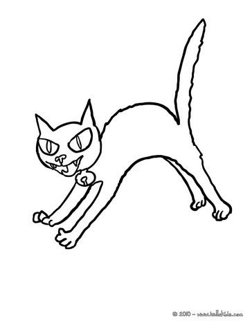 Schwarze katze zum ausmalen zum ausmalen - Dessin chat halloween ...