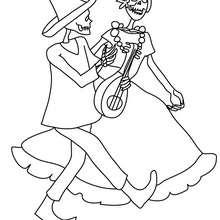 Skelettpärchen tanzt zum Ausmalen