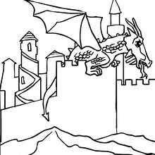 Drache landet auf einem Schloss zum Ausmalen
