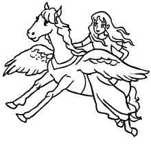 Fee auf einem Pegasus zum Ausmalen