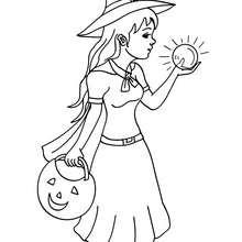 Hexe guckt in ihre Kristallkugel zum Ausmalen