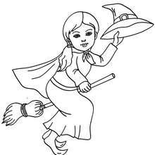 Hexe fliegt auf ihrem Besen zum Ausmalen