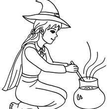 Lustige Hexe bereitet einen Zaubertrank zu zum Ausmalen